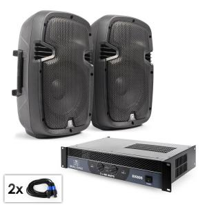"PA Set ""SPJ Boom"" Pair of 8"" Boxes and Amplifier 800W"