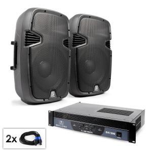 """Set PA """"SPJ Boom 12"""" Par alto-falantes 30cm e amplifiador 1200W"""