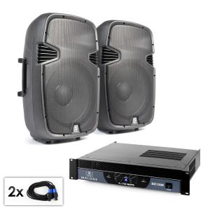 """PA Set """"SPJ Boom"""" Pair of 15"""" (38 cm) Speakers and Amplifier 1500 W"""