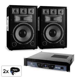 "PA set Saphir Series ""Warm Up Party 12plus II"" paar 12"" boxen & versterker 1500W"
