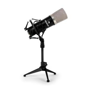 Set de microfone de estudio com microfone condensador XLR preto e suporte de mesa