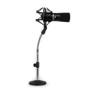 Studio microfoonset met XLR condensator microfoon zwart en microfoonstatief