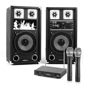 PA Karaoke Set 2 x PA Speakers 2 x Wireless Microphones