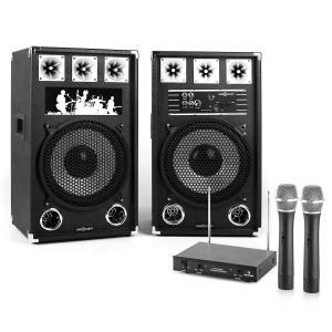 "Karaoke-installatie ""STAR-12A"" actieve boxen | VHF draadloze microfoons"