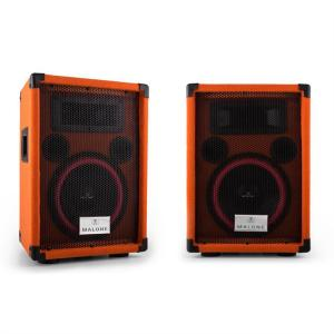 "Pair of Malone Beatamine-C PA Speakers 20cm 8"" 150W RMS 300W Max. Orange"