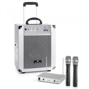 Portable PA System 'Blockstar' & auna 2-channel VHF Wireless Mic Set Silver