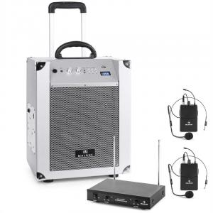 Malone Blockstar Portable PA System & auna 2-channel VHF Wireless Microphone Set White