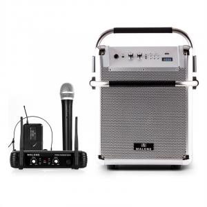 Rock Fortress Sistema Audio + Set Microfono Wireless UHF 250 Argento