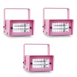 Mini Strobe Conjunto de 3 Estroboscópios LED Strobe Light Rosa