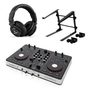 Kontrol 3 USB-MIDI DJ-ohjain musta kuulokkeet & teline kannettavalle tietokoneelle