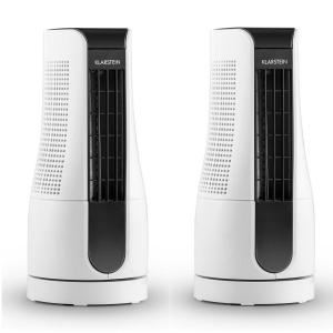 Skyscraper Office Desk Fan Set of 2 16W White