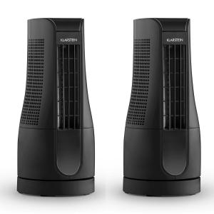 Skyscraper Office Set of 2 Desk Fans 16W Touch Black