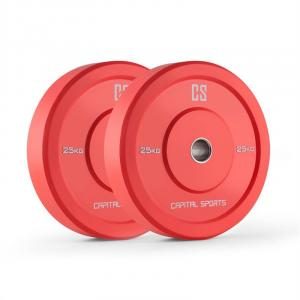 Nipton Bumper Weight Plates Pair of 25kg Red Hard Rubber 2x 25 kg