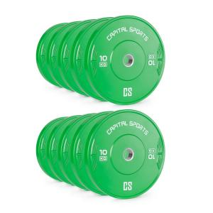 Nipton Bumper  Weight Plates 10kg Green Hard Rubber 5 Pairs 10x 10 kg