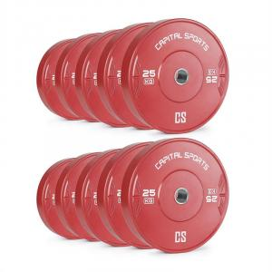 Nipton Bumper Plates 5 Pairs 25 kg Red Hard Rubber 10x 25 kg
