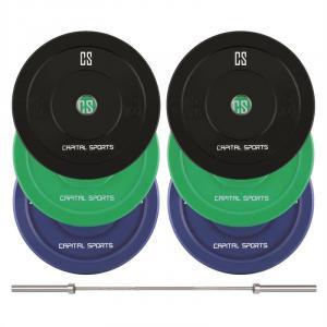 Nipton Mens Set II Conjunto de Barra Olímpica e 3 pares de Discos de Peso de 5, 10 e 20kg Cada