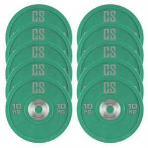 Performan Urethane Plates Weight Plates 5 PAIR 10kg Green 10x 10 kg