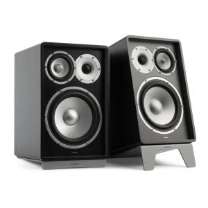 RETROSPECTIVE 1978 MKII - Three-Way Bookshelf Speaker Pair black/grey Black | No Cover | Grey