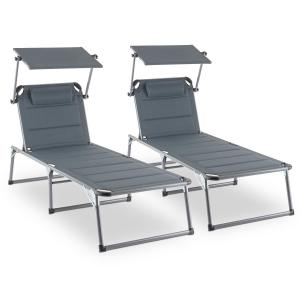 Amalfi Noble Grey Sunlounger set of 2 upholstery steel pipe grey