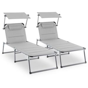 Amalfi Noble Beige Sunlounger set of 2 upholstery steel pipe beige