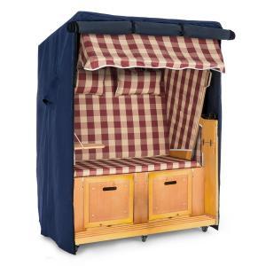 Set Abri plage cabine chaise longue 2 places housse/roulettes - rouge