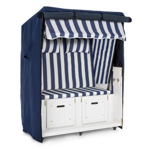 Set Abri plage cabine chaise longue 2 places housse/roulettes - bleu