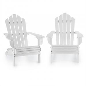 Vermont Krzesło ogrodowe 2 sztuki styl Adirondack drewno świerkowe kolor biały