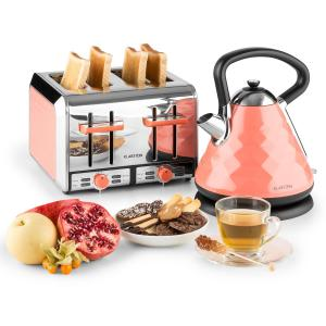 Curacao Coral Breakfast Set Electric Kettle 4-Slice Toaster Coral