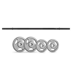 Weight Plates Straight Bar Set 15 kg 4 Weights Straight Bar