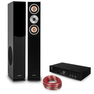 auna Hifi Set 'Brilliant Black' | Stand Speaker | Hifi Amplifier | Cable