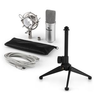 MIC-900S USB Microphone Set V1 | Silver Condenser Microphone Tabletop Stand