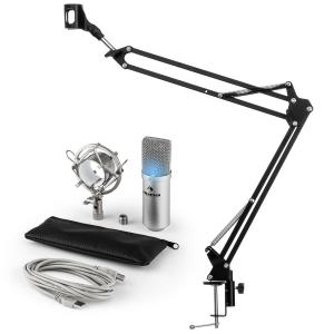 Auna MIC-900S-LED USB microfoonset V3 condensatormicrofoon + microfoonarm LED zilver
