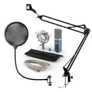 MIC-900BL Set microphone V4 USB condensateur filtre anti pop perchette bleu