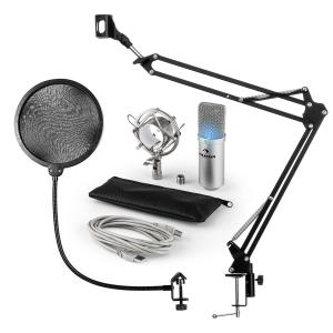 MIC-900S-LED USB Microphone Set V4 Condenser Microphone Pop-Protection Microphone arm LED silver