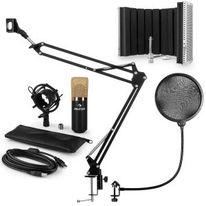 MIC-900BG USB kit micro V5 condensateur filtre anti pop et bruit perchette or