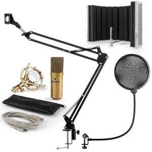 MIC-900G USB Microphone Set V5 Condenser Microphone Pop Shield Microphone Arm gold