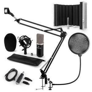 CM003 Set Microfono V5 Condensatore Convertitore USB Braccio nero
