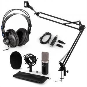 auna CM003 Set para Microfones V3 Condensador COnversor USB Auscultador Preto