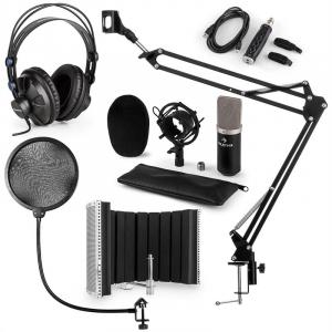 CM003 Set Microfone V5 Microfone de Condensador Conversor USB Auscultadores Preto