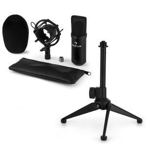 Auna CM00B microfoonset V1 - zwarte studiomicrofoon, spin en tafelstatief