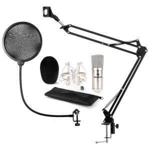 auna CM001S Mikrofon-Set V4 Microfone Condensador com Braço e Proteção POP Prateado