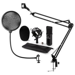 CM001B microfoonset V4 condensatormicrofoon microfoonarm plopbescherming - zwart