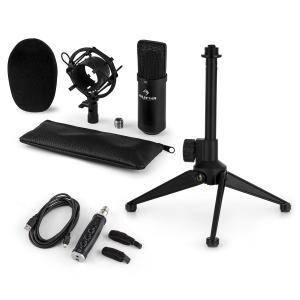 Auna CM001B microfoonset V1 condensatormicrofoon USB adapter microfoonstatief zwart
