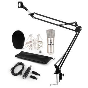 CM001S Set Microfone V3 Microfone de Condensador Adaptador USB Braço P/ Microfone Prateado