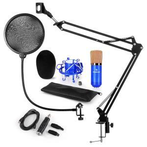 CM001BG Conjunto para Microfone V4 Condensador Adaptador USB Suporte Proteção POP azul