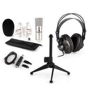 CM001S zestaw V1 słuchawki mikrofon pojemnościowy adapter USB srebrny