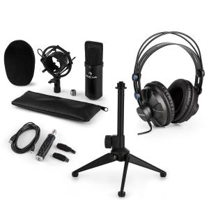 CM001B Set V1 Auriculares Micrófono de condensador Adaptador rosca Cable USB negro