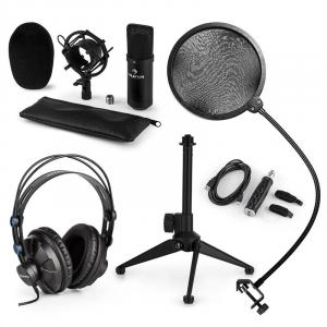 CM001B zestaw mikrofonowy V2 mikrofon pojemnościowy słuchawki czarny
