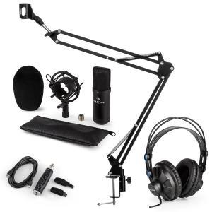 CM001B microfoonset V3 koptelefoon condensatormicrofoon USB adapter microfoonarm - zwart