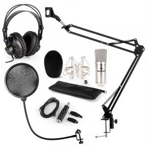 CM001S Conjunto para Microfone V4 Auscultador Condensador Adaptador USB Suporte Proteção POP